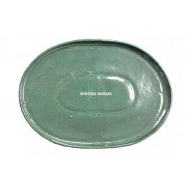 Plato oval de gres para bonsái de 26 cm. Verde.