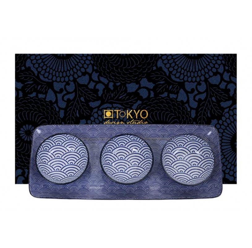 Conjunto de 3 cuencos y bandeja Tokyo Blue